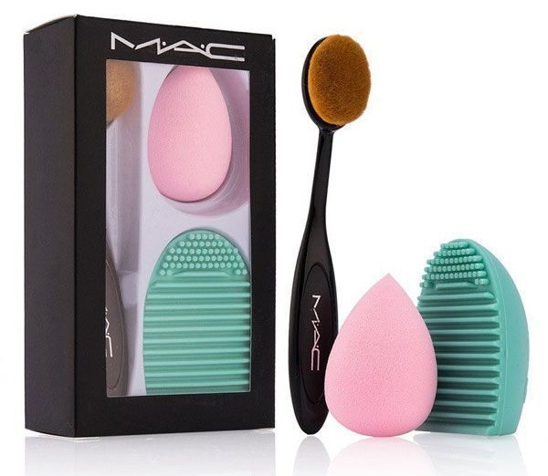 Набор для нанесения макияжа 3в1 (кисть + спонж + щетка для очистки кистей)