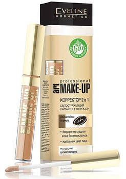 Жидкий корректор с аппликатором 2в1 Eveline Cosmetics Art Professional Make-up Face Concealer 2in1