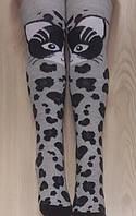 Модные светло-серые гольфы-гетры для девочки подростка, с котиками, 7,11,13 лет.