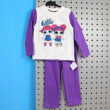 6076-002-33фиол Пижама детская ЛОЛ фиолетовая размер 98,110,128,134