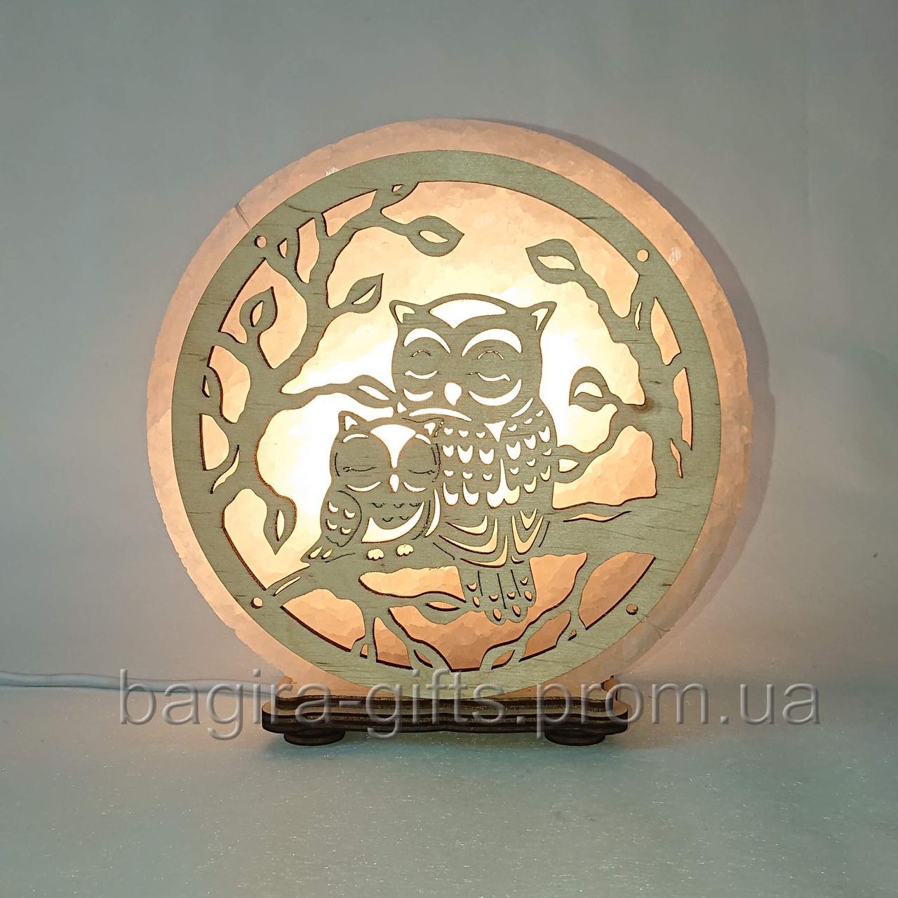 Соляна лампа кругла Сплячі сови