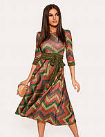 Платье в абстрактный принт. Женское платье миди. Женская повседневная одежда