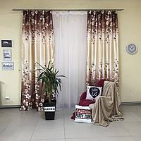 Комплект плотных штор из атласа с цветочным принтом с тюлью 4м с утяжелителем (для спальни, гостиной)