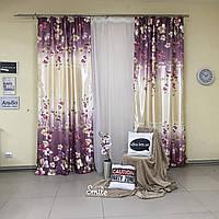 Комплект плотных штор из атласа 2 шт с цветочным принтом с тюлью с утяжелителем (для спальни, гостиной)