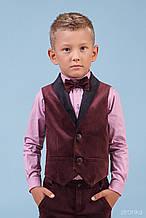 42-8003-3 Комплект Жилет Рубашка с бабочкой бордовый бархат тм Zironka размер 110,128