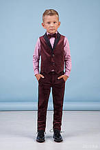 34-8014-3 Костюм бордовый для мальчика Жилет, Брюки, Рубашка с бабочкой бордовый бархат тм Zironka размер 98,104,116,122