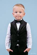 8014-1 Жилет черный бархат для мальчика тм Zironka размер 116