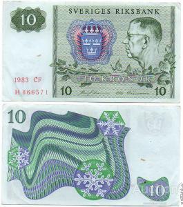 Швеция 10 крон 1983 год