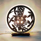 Соляна лампа кругла Сова в капелюсі