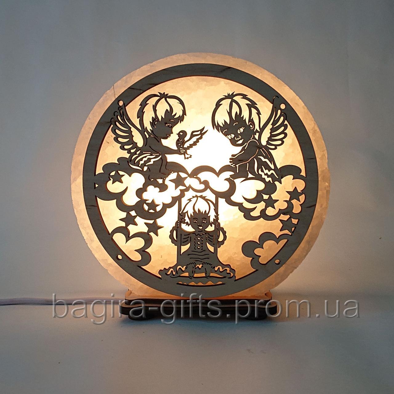 Солевой ночник Ангелы на тучах. Подарок соляная лампа светильник сыну дочке ребенку на крестины на рождение