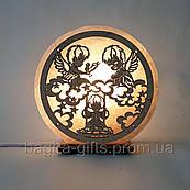 Сольовий нічник Ангели на хмарах. Подарунок соляна лампа світильник сину дочці дитині на хрестини на народження