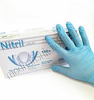 Нитриловые синие перчатки SFM blue без пудры S (50пар/100шт в упаковке)