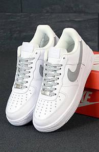 Женские кроссовки Nike Air Force 1 low reflective white белые