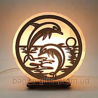 Соляная лампа круглая Дельфины