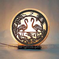 Соляная лампа круглая  Фламинго