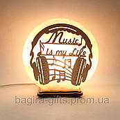 Соляная лампа круглая Музыка