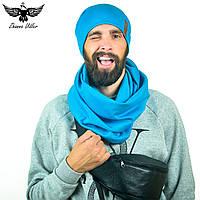 Набор голубого цвета: шапка + шарф-снуд. unisex, фото 1
