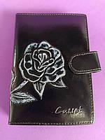 Женский кошелёк чёрный с розой, для документов и пластиковых карт, стильный и удобный.