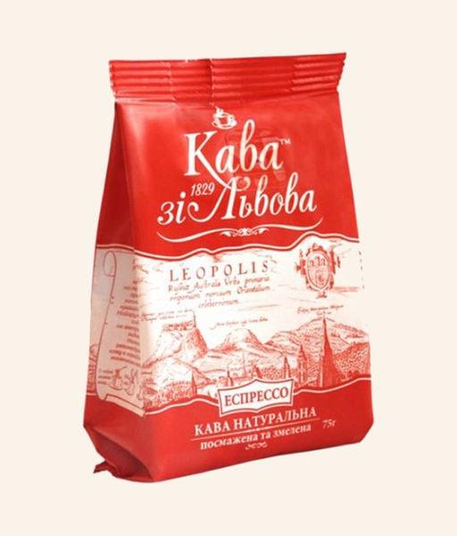 Молотый львовский кофе Кава зі Львова Эспрессо 75 грамм