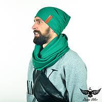 Набор зеленого цвета: шарф-снуд + шапка. unisex, фото 1