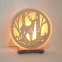 Соляная лампа круглая Олень и березы