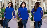 Красивая нарядная блуза с бархатным рисунком на рукавах размеры 50-60 арт 1184