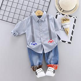 Стильный костюм двойка на мальчика 1-3 года рубашка и джинсы весна-осень