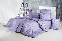 Постельное белье евро Сатин с вышивкой Ласточки фиолетовый Ideia