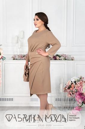 Трикотажное платье цвет бежевый Украина батал Размеры: 52,54,56-58, 60-62, фото 2