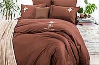 Постельное белье евро Сатин с вышивкой Роза Ветров коричневый Ideia