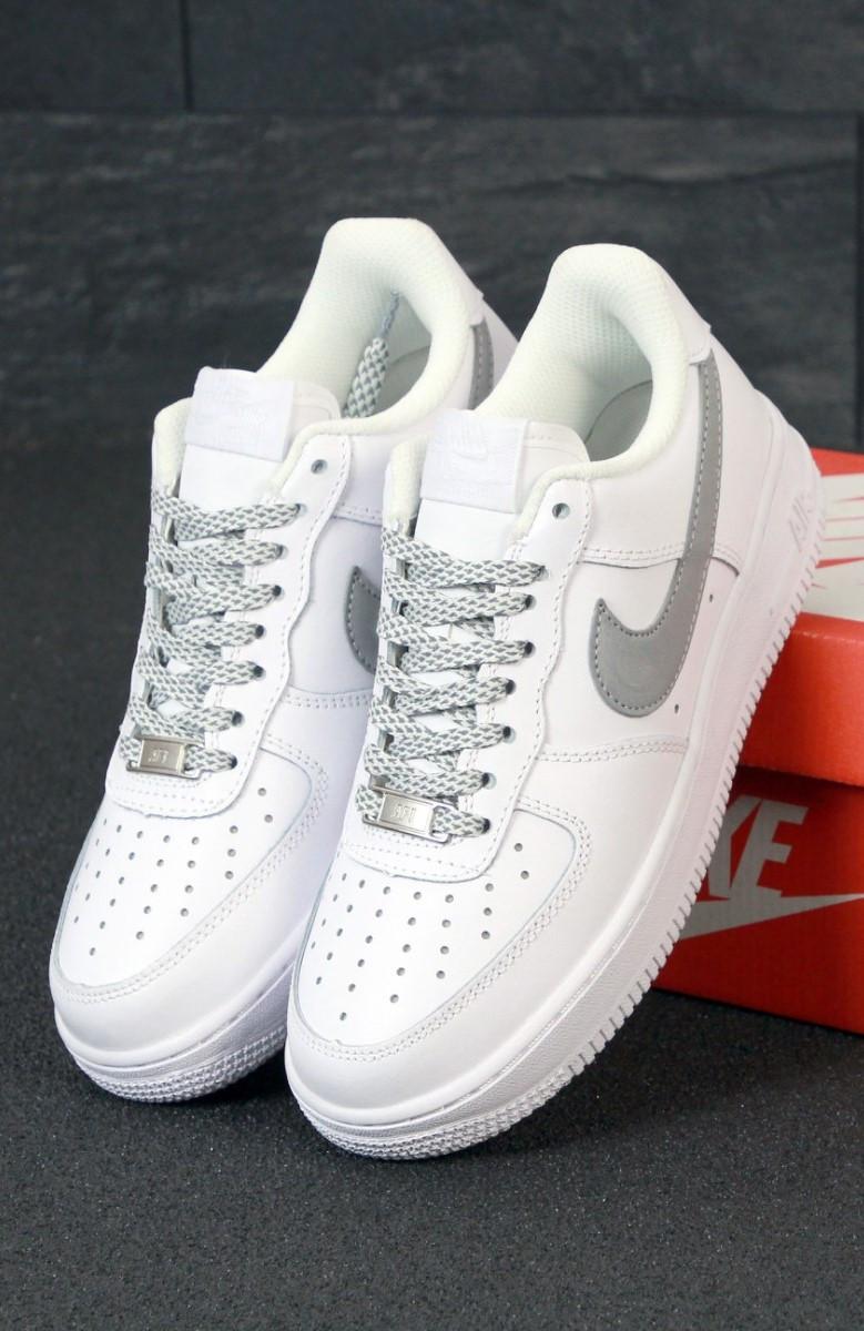 Мужские кроссовки Nike Air Force 1 low reflective white белые