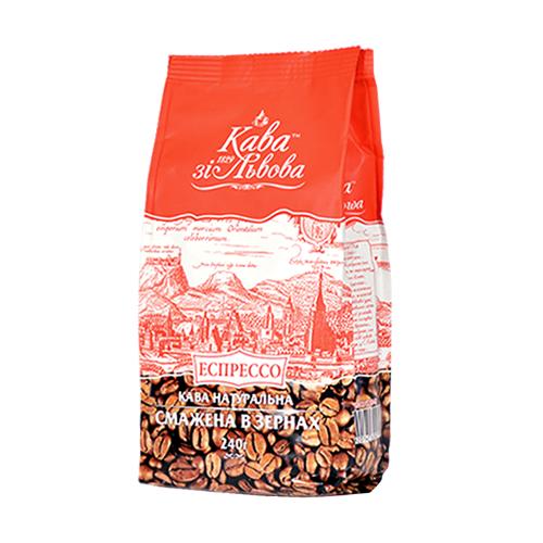 Львовский кофе в зёрнах Кава зі Львова Эспрессо 240 грамм