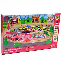 Деревянная игрушка конструктор железная дорога, 39 деталей (MD 1056)
