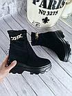 Демисезонные женские ботинки черного цвета, эко замша, фото 2