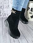 Демисезонные женские ботинки черного цвета, эко замша, фото 3