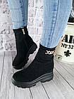 Демисезонные женские ботинки черного цвета, эко замша, фото 4