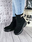 Демисезонные женские ботинки черного цвета, эко замша, фото 5
