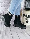 Демисезонные женские ботинки черного цвета, эко замша, фото 6