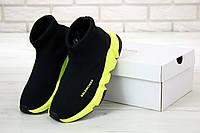 Мужские кроссовки Баленсиага Speed Trainer черные на салатовой подошве