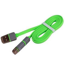 Кабель PULSO USB - Micro USB/Apple 1m green (плоский) (CP-002GN)