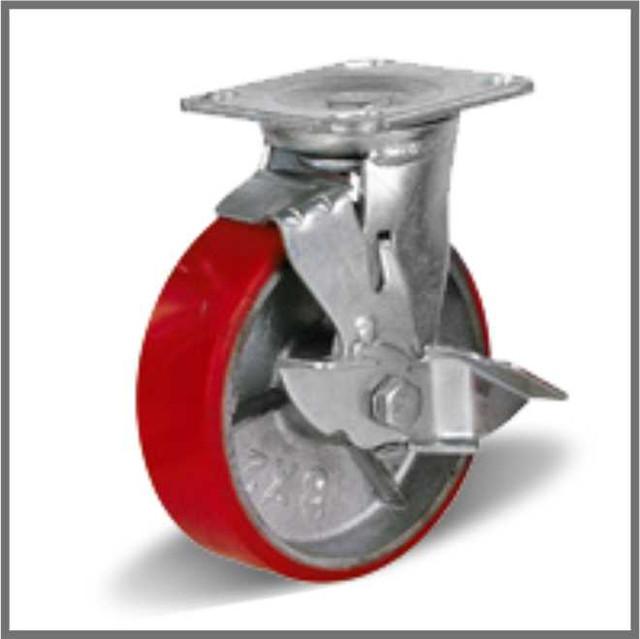 Колеса промышленные большегрузные на поворотном кронштейне с тормозом