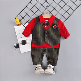 Нарядный костюм тройка на мальчика с жилеткой и бабочкой  1-2 года