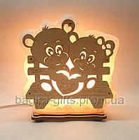 Соляной светильник Мишки на лавочке, фото 1