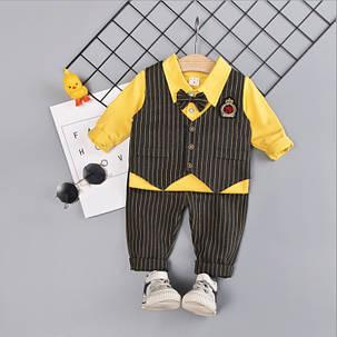 Нарядный костюм тройка на мальчика с жилеткой и бабочкой  1-2 года, фото 2