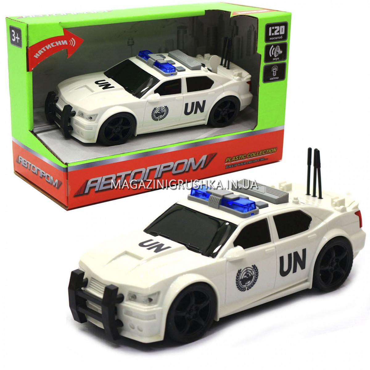 Машинка игровая автопром «Автомобиль ООН», 19х8х7 см, пластик (свет, звук) 7916ABC