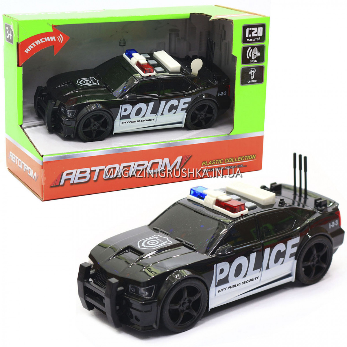 Машинка игровая автопром «Полиция», 19х8х7 см, пластик (свет, звук) 7916ABC