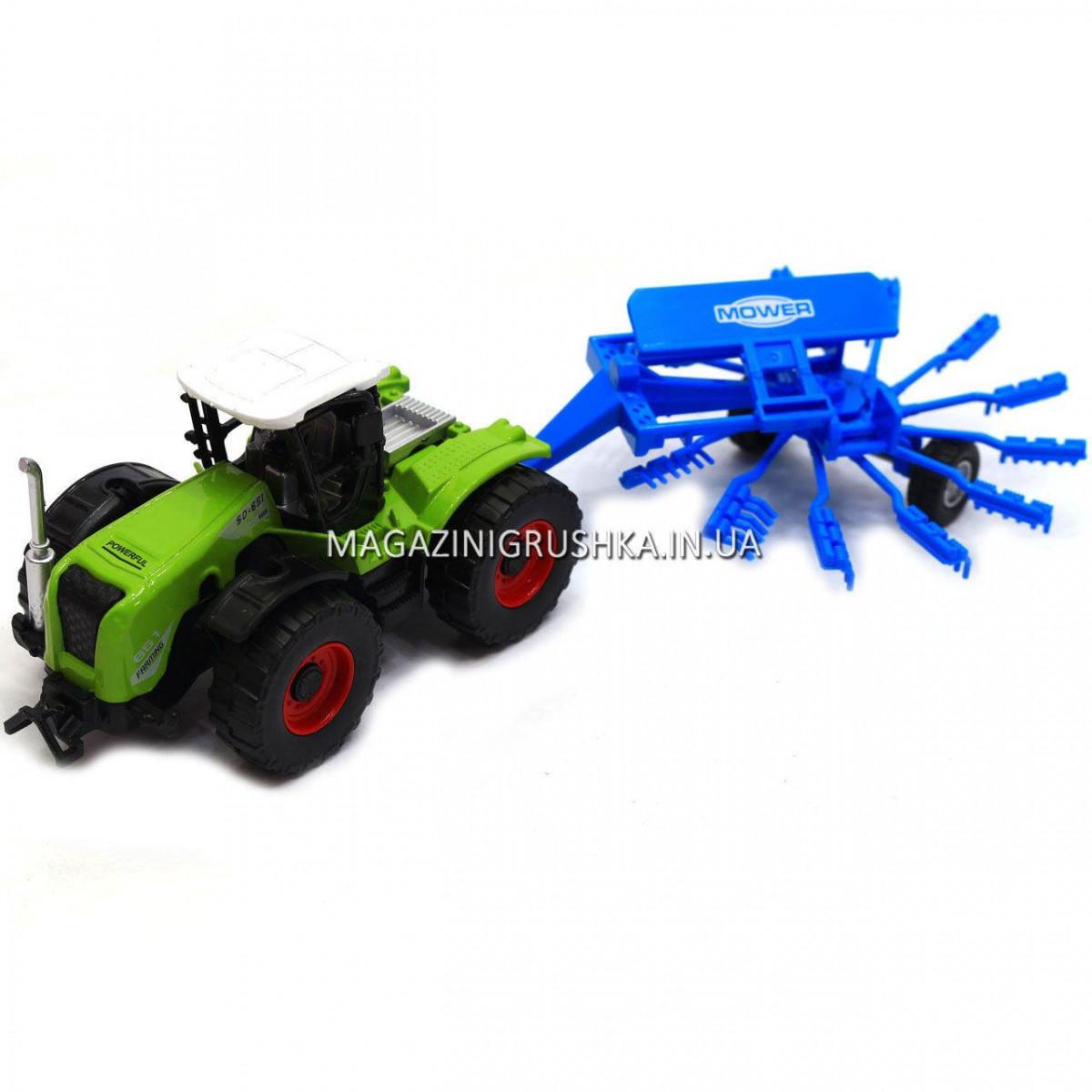 Машинка игровая автопром «Трактор с жаткой» Синий 7786-2