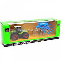 Машинка игровая автопром «Трактор с жаткой» Синий 7786-2, фото 2