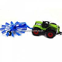 Машинка игровая автопром «Трактор с жаткой» Синий 7786-2, фото 3