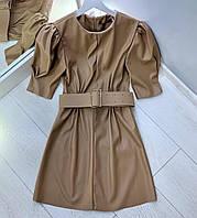 Кожаное платье с рукавом фонариком до локтя 41mpl810